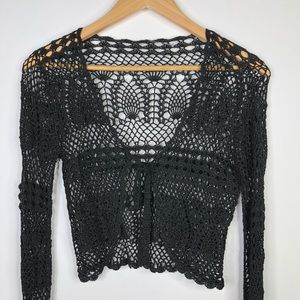 Tops - Crochet Cropped Bell Sleeves Top Long Sleeve Small